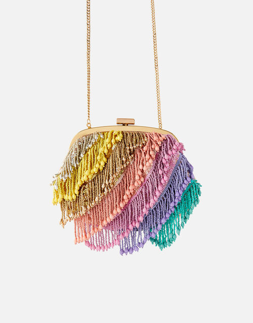 Freya Colourblock Fringe Bag, , large