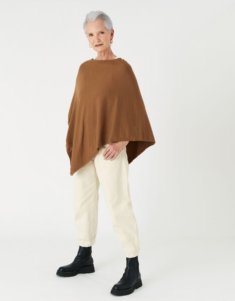 Lightweight Knit Poncho Brown, Brown (CHOCOLATE), large