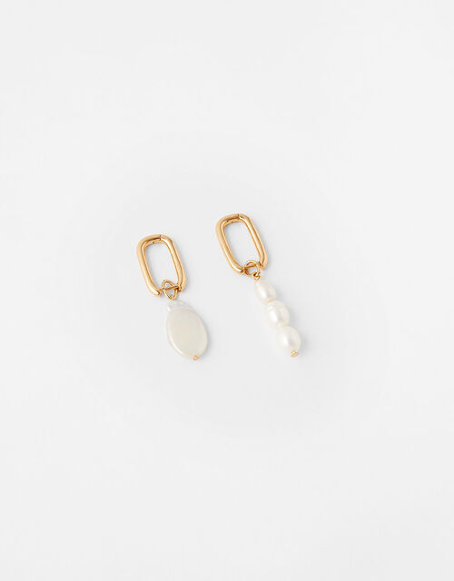 Real Pearl Irregular Earring Set, , large