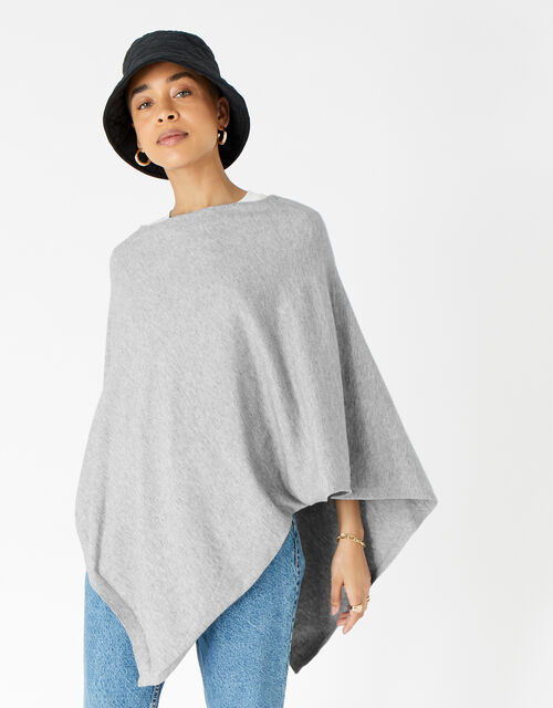 Lightweight Knit Poncho, Grey (GREY), large