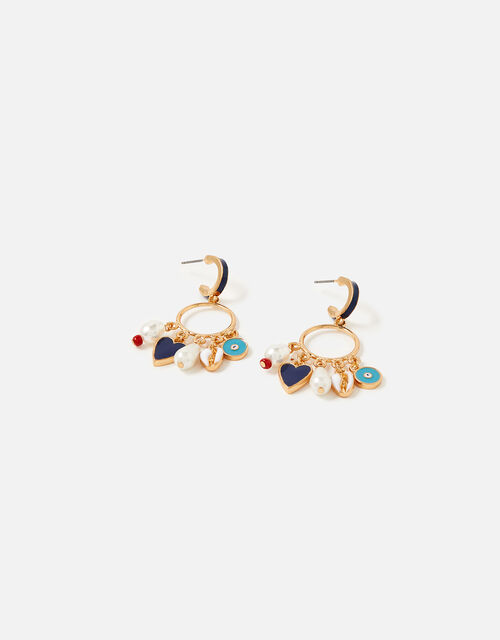 St Ives Statement Charmy Hoop Earrings, , large