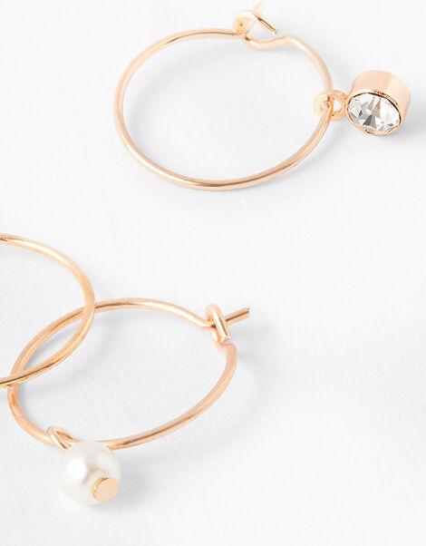 Pearl and Crystal Charm Mini Hoop Set, , large