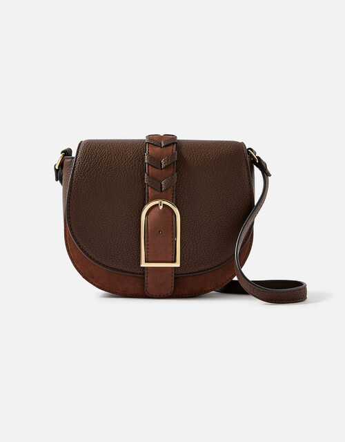 Shania Suedette Cross-Body Bag , Brown (CHOCOLATE), large