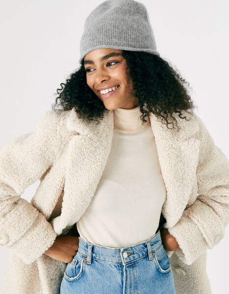 Knit Beanie in Cashmere Grey, Grey (GREY), large