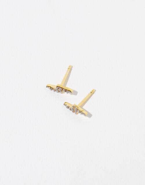Gold Vermeil White Topaz Bolt Stud Earrings, , large