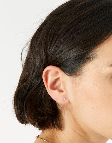 Sterling Silver Pearl Stud Earring Set, , large