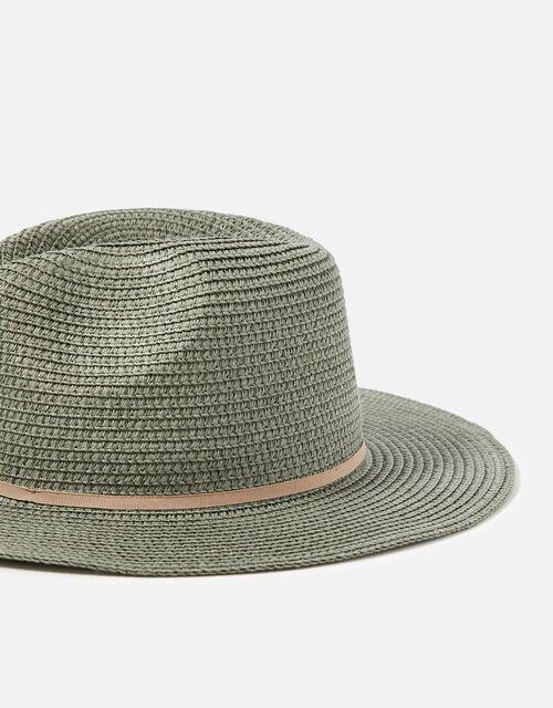 Packable Panama Trilby Hat , Green (KHAKI), large