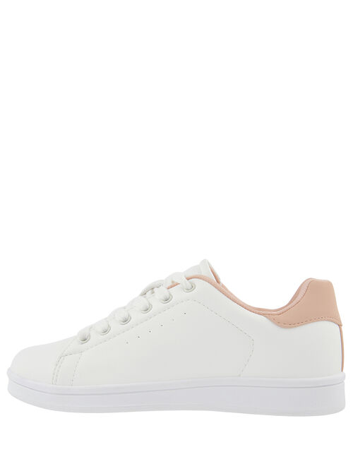 Contrast Back Panel Trainers, White (WHITE), large