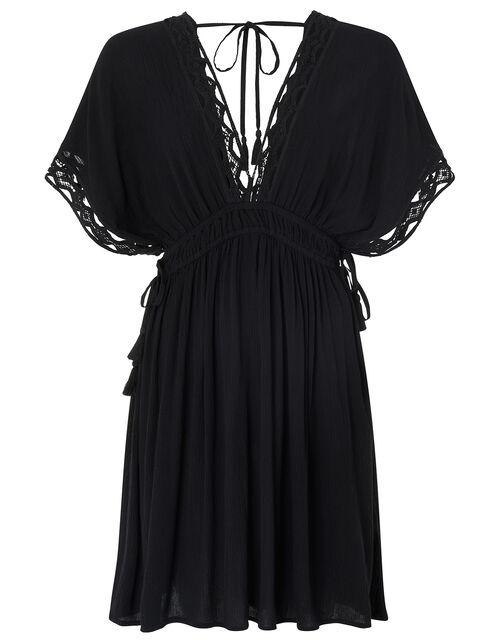 Lace Trim Crinkle Kaftan, Black (BLACK), large