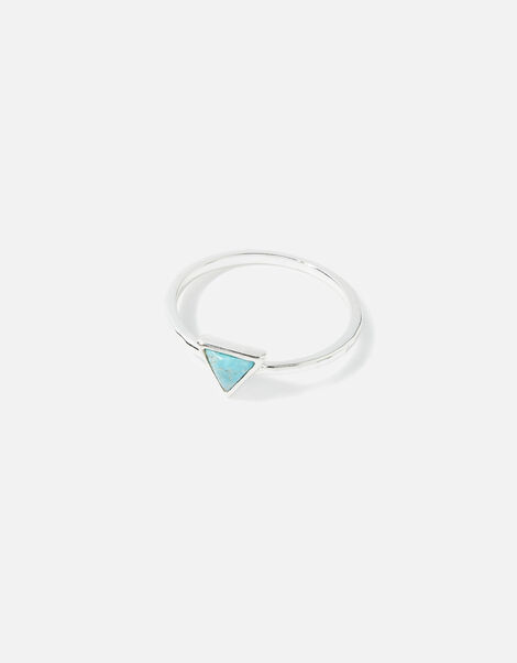 Sterling Silver Healing Stone Turquoise Ring Blue, Blue (TURQUOISE), large