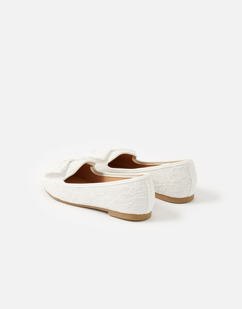 Lace Bow Slippers Natural, Natural (IVORY), large