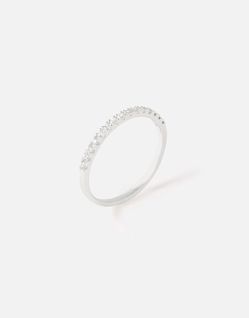Sterling Silver Crystal Eternity Ring, White (ST CRYSTAL), large