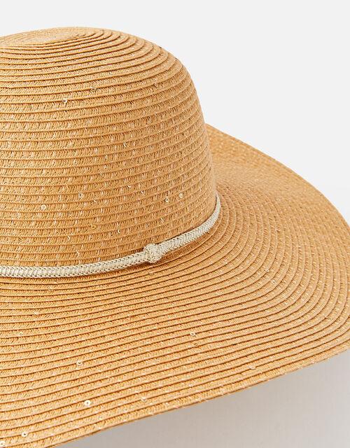 Santorini Sequin Floppy hat , Natural (NATURAL), large