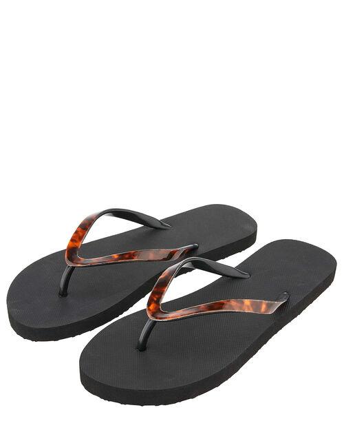 Tortoiseshell Eva Thong Flip Flops, Black (BLACK), large