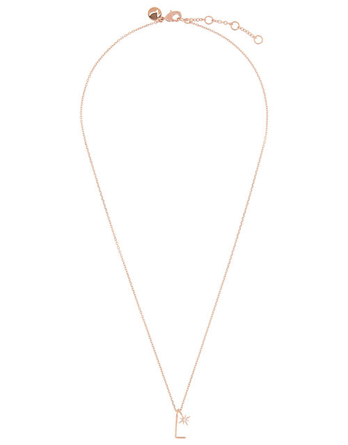 Rose Gold-Plated Initial Star Necklace - L, , large