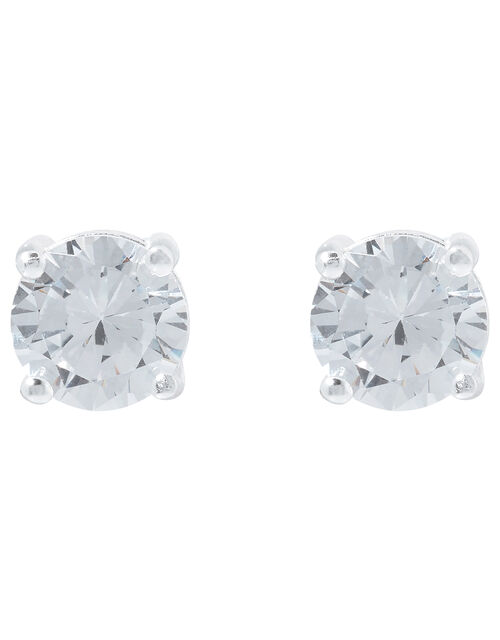 Sterling Silver Round Solitaire Earrings, , large