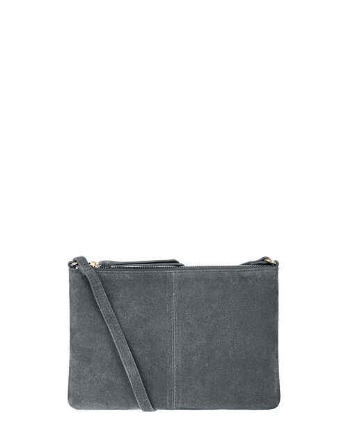 Suede Cross-Body Bag, Grey (GREY), large