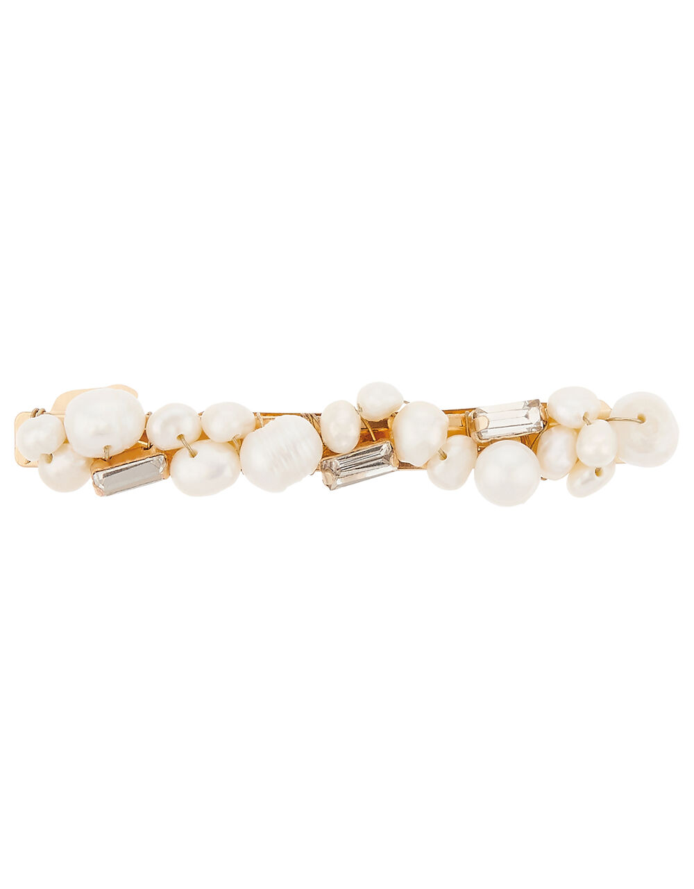 Freshwater Pearl and Sparkle Barrette Clip, , large
