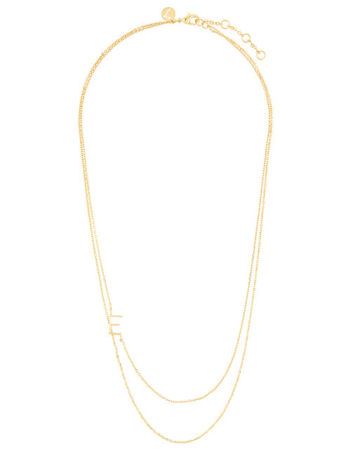 Gold-Plated Double Chain Initial Necklace - E, , large