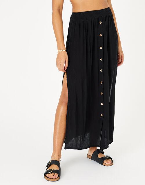 Button-Down Skirt, Black (BLACK), large
