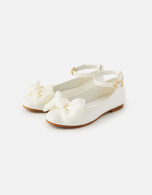 Bow Patent Ballerina Flats, Natural (IVORY), large
