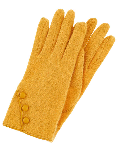 Button Gloves in Pure Wool, Yellow (OCHRE), large