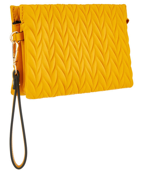 Paige Pleated Cross-Body Bag, Yellow (YELLOW), large