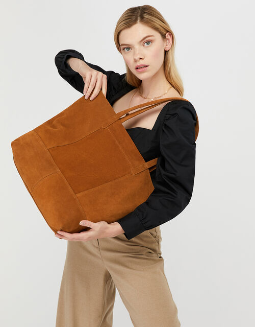 Leather Tote Bag, Tan (TAN), large