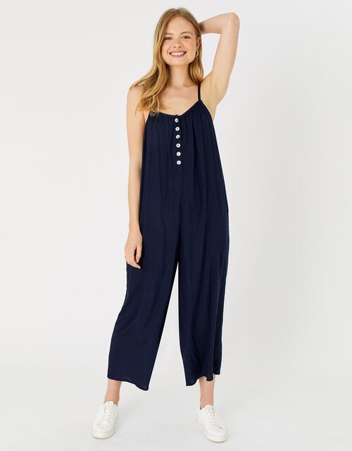 Relaxed Button Jumpsuit, Blue (NAVY), large