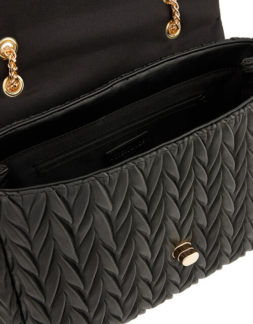 Penny Pleated Large Shoulder Bag, Black (BLACK), large