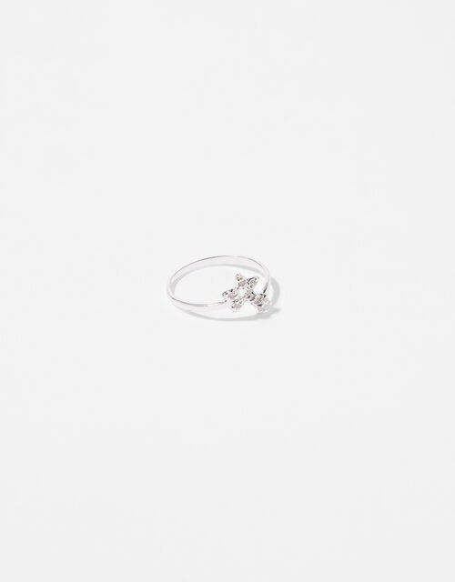 Sterling Silver Sparkle Star Adjustable Ring, White (ST CRYSTAL), large
