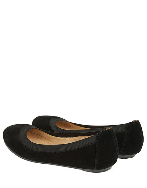 Suede Elasticated Ballerina Flats Black, Black (BLACK), large