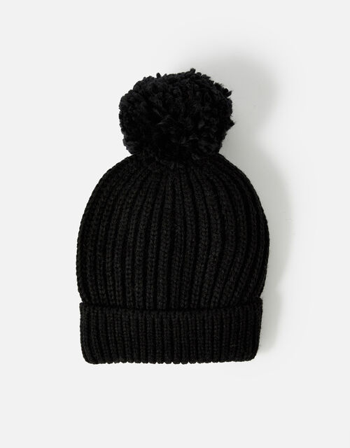 Chunky Knit Pom-Pom Beanie Hat, Black (BLACK), large