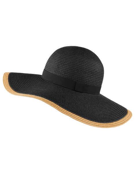 Contrast Edge Floppy Hat Black, Black (BLACK), large