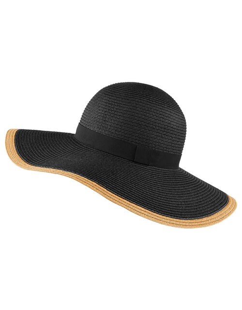 Contrast Edge Floppy Hat, Black (BLACK), large