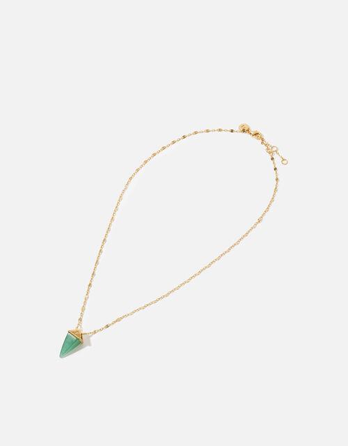 Gold-Plated Healing Stone Aventurine Pendant Necklace, , large