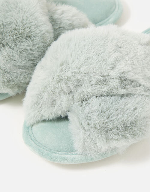 Luxe Faux Fur Sliders, Green (GREEN), large