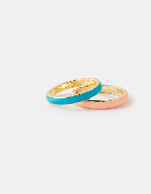 Coloured Enamel Stacking Ring Set, Multi (BRIGHTS-MULTI), large