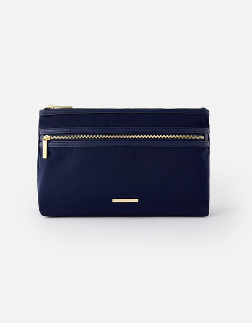 Zahra Zip Makeup Bag, Blue (NAVY), large