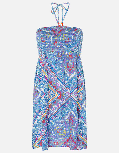 Kerala Scarf Print Bandeau Dress, Blue (BLUE), large