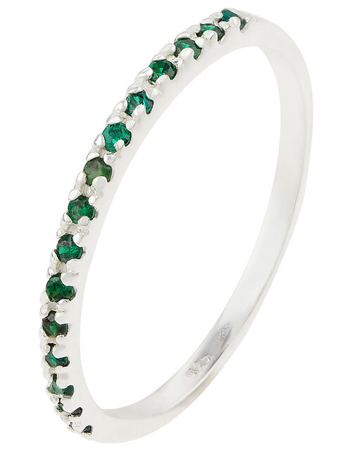 Sterling Silver Eternity Band Ring, Green (GREEN), large