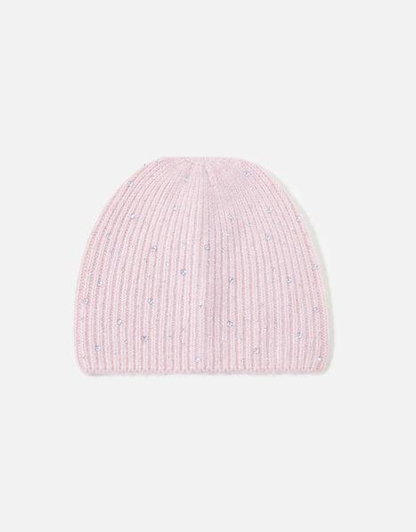 Girls Sparkle Gem Beanie Pink, Pink (PINK), large
