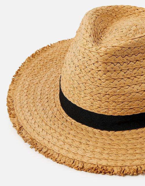 Corfu Frayed Edge Floppy Hat , Natural (NATURAL), large