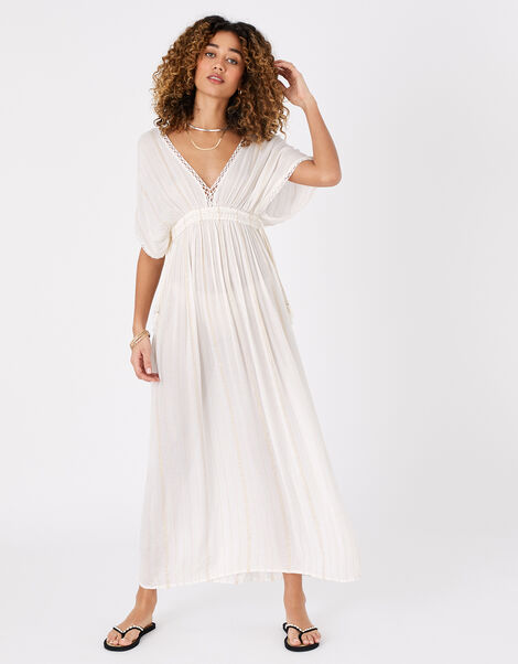 Metallic Maxi Kaftan Dress Cream, Cream (CREAM), large
