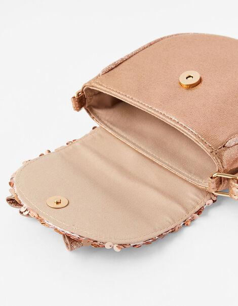Rose Gold Sequin Saddle Cross-Body Bag , , large