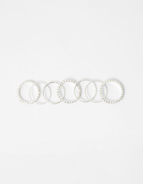 Pave Textured Stacking Ring Set, White (CRYSTAL), large