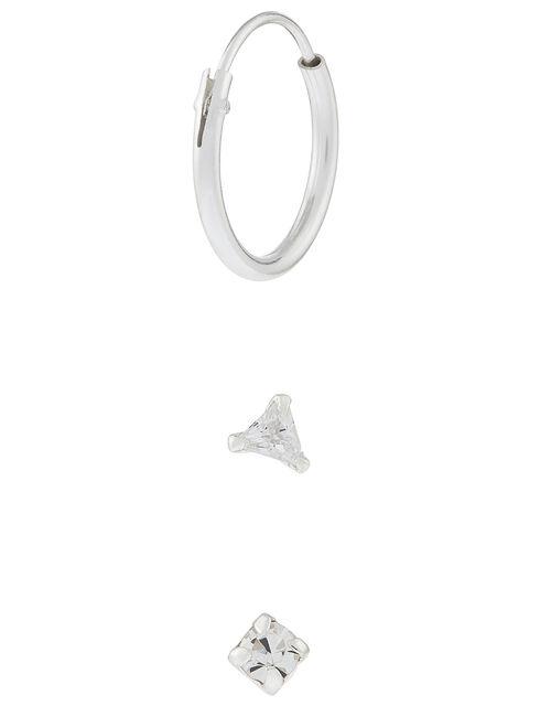 Sterling Silver Sparkle Earring Set, , large