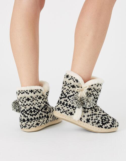 Fair Isle Knitted Slipper Boots, Black (BLACK/WHITE), large