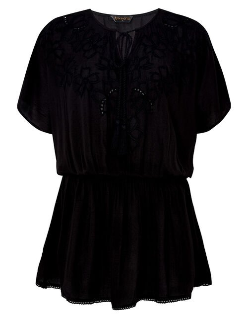 Kerina Cutwork Embroidered Kaftan, Black (BLACK), large