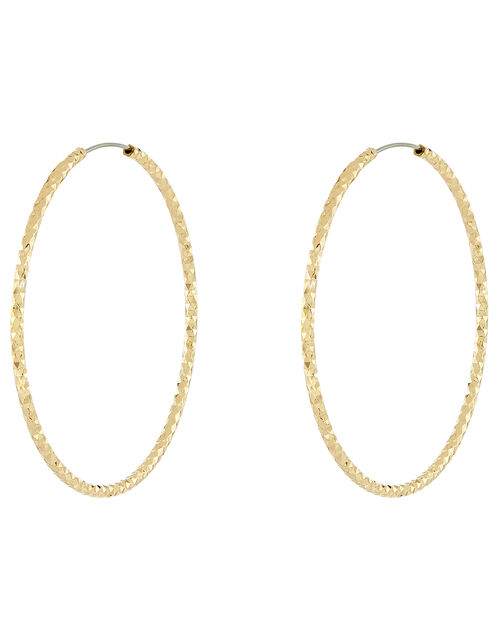 Medium Textured Hoop Earrings, Gold (GOLD), large